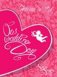 De Kaart van de huwelijksuitnodiging met hart, engel en kalligrafische teksten Stock Foto's