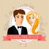 De kaart van de huwelijksuitnodiging met huwelijkspaar Stock Foto's