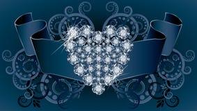 De kaart van de huwelijksuitnodiging met lint en diamant hij Stock Foto's