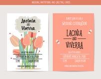 De kaart van de huwelijksuitnodiging met romantische bloemmalplaatjes royalty-vrije stock afbeelding
