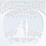 De kaart van de huwelijksuitnodiging met silhouetbruid en bruidegom Royalty-vrije Stock Afbeeldingen
