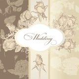 De kaart van de huwelijksuitnodiging in uitstekende stijl Stock Foto