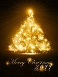 De kaart van de kerstboom 2011 met gouden gloed Stock Fotografie