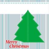 De Kaart van de kerstboom met woorden Vrolijke Kerstmis Stock Foto