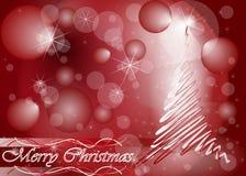De kaart van de kerstboom in rode kleur Stock Foto