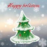 De kaart van de kerstboomgroet, getrokken en glanzende hand Royalty-vrije Stock Foto