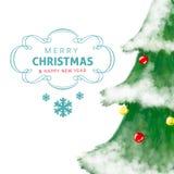 De kaart van de kerstboomgroet, getrokken en glanzende hand Royalty-vrije Stock Foto's