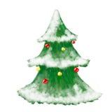 De kaart van de kerstboomgroet, getrokken en glanzende hand Stock Afbeelding