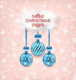 De Kaart van de Kerstmiselegantie met Ballen en Wolk Royalty-vrije Stock Foto