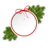 De kaart van de Kerstmisgift met de boog van het lintsatijn stock afbeeldingen