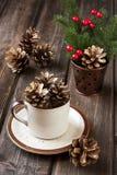 De kaart van de Kerstmisgift met vakantiesamenstelling Stock Foto's