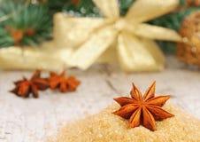 De kaart van de Kerstmisgroet in goldtone Stock Foto's