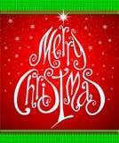 De Kaart van de Kerstmisgroet. Het vrolijke Kerstmis van letters voorzien als christma Stock Fotografie