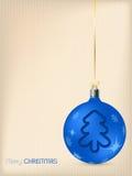 De kaart van de Kerstmisgroet met blauwe decoratie Stock Foto
