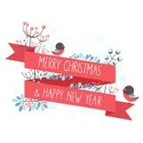 De kaart van de Kerstmisgroet met de decoratieve winter ele Royalty-vrije Stock Afbeeldingen