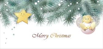 De kaart van de Kerstmisgroet met een engel Stock Illustratie