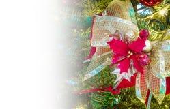 De kaart van de Kerstmisgroet met exemplaarruimte, lint en poinsettia Stock Foto