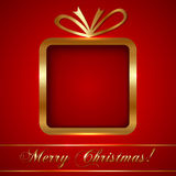 De Kaart van de Kerstmisgroet met Gift Stock Foto