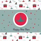 De kaart van de Kerstmisgroet met giftdoos, sneeuwvlok, boom Stock Afbeeldingen