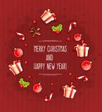 De kaart van de Kerstmisgroet met giften en snoepjes door wolk Stock Afbeeldingen