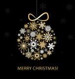 De Kaart van de Kerstmisgroet met gouden ballen Royalty-vrije Stock Fotografie