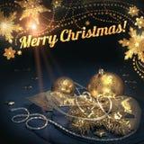 De kaart van de Kerstmisgroet met gouden decoratie titel Stock Afbeeldingen