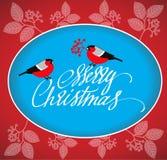 De Kaart van de Kerstmisgroet met goudvinken en het handdrawn van letters voorzien Stock Foto's