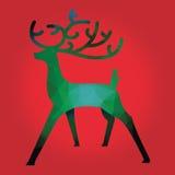 De kaart van de Kerstmisgroet met groene en rode veelhoekige herten Stock Afbeeldingen