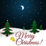 De Kaart van de Kerstmisgroet met Kerstmisboom en de achtergrond van de nachthemel Royalty-vrije Stock Afbeeldingen