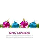 De Kaart van de Kerstmisgroet met Kleurrijke Glasballen Stock Afbeeldingen