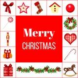 De kaart van de Kerstmisgroet met verschillende symbolen Royalty-vrije Stock Afbeeldingen