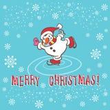 De kaart van de Kerstmisgroet. Sneeuwman. Stock Foto's