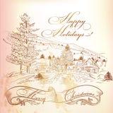 De kaart van de Kerstmisgroet in uitstekende stijl met hand getrokken landsca Royalty-vrije Stock Foto's