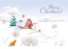 De kaart van de Kerstmisgroet van het de winterlandschap Stock Foto's