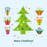 De kaart van de Kerstmisgroet van het malplaatje, vector Stock Afbeeldingen