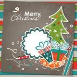 De kaart van de Kerstmisgroet van het malplaatje, vector Stock Foto