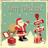 De kaart van de Kerstmisgroet, vector Stock Afbeeldingen