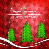 De Kaart van de Kerstmisgroet, vectorillustratie Stock Afbeeldingen