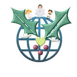 De kaart van de Kerstmisgroet, Vrede in de Wereld Stock Foto's