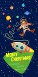 De kaart van de Kerstmisgroet: Vrolijk Kerstmis en Nieuwjaar Royalty-vrije Stock Afbeelding