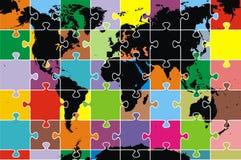 De kaart van de wereld als raadsel Stock Foto