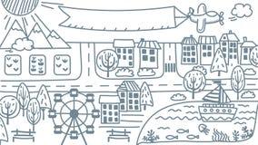 De kaart van de krabbelstad Glanzende Stad Geïsoleerde Royalty-vrije Stock Fotografie