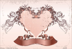 De kaart van de liefde. De dag van de valentijnskaart Stock Afbeeldingen