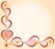 De kaart van de liefde in hart en bloemen royalty-vrije illustratie