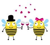De kaart van de liefde met bijen Stock Foto