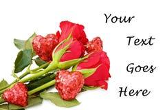 De kaart van de liefde met rozen Stock Afbeeldingen