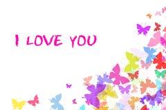 De kaart van de liefde met vlinders Royalty-vrije Stock Afbeeldingen