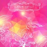De Kaart van de liefdegroet met Vogel en Bloemen. Vectorillustratie, c Royalty-vrije Stock Foto's