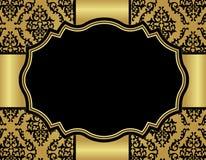 De kaart van de luxeuitnodiging met damast naadloos patroon Royalty-vrije Stock Afbeeldingen