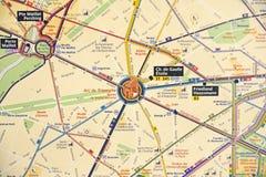 De kaart van de metro van Parijs Royalty-vrije Stock Afbeelding